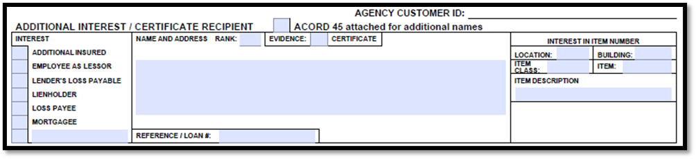 Acord 126 Additional Interest or Certificate Recipient