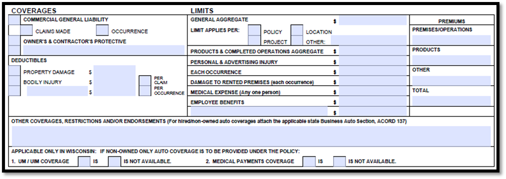 Acord 126 Coverage and Limits