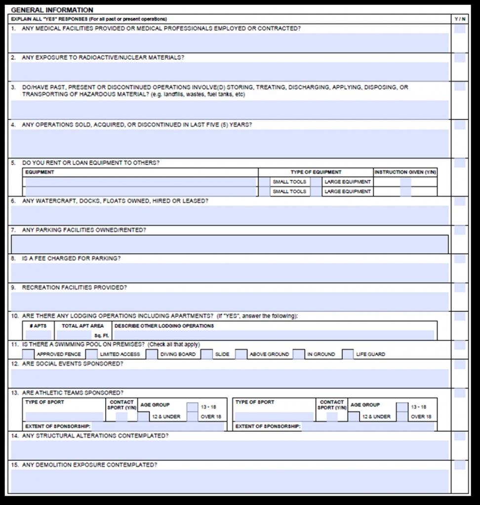 Acord 126 General Information
