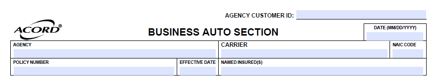 Acord 127 Business Auto Section