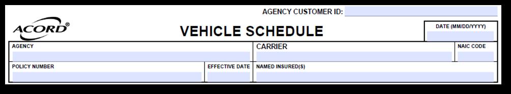 Acord 129 Vehicle Schedule
