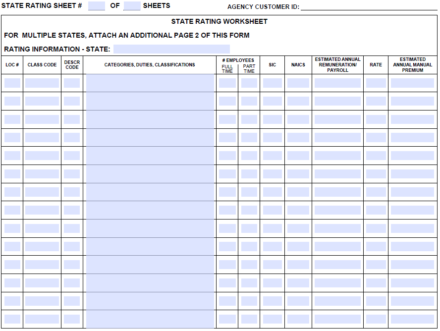 Acord 130 State Rating Sheet