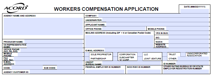 Acord 130 Workers Compensation Agency and Applicant Information
