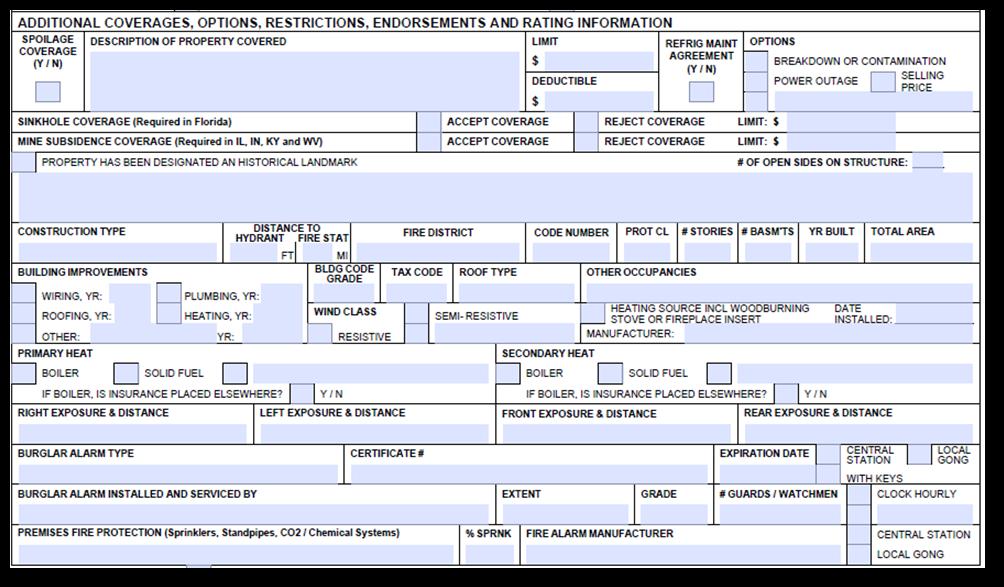 Acord 140 Additional Premises Information