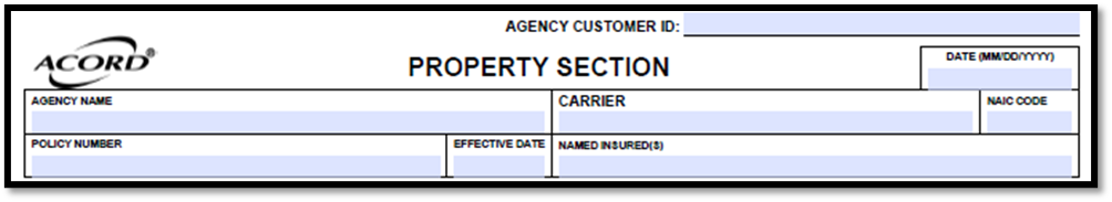 Acord 140 Agency and Insured Information