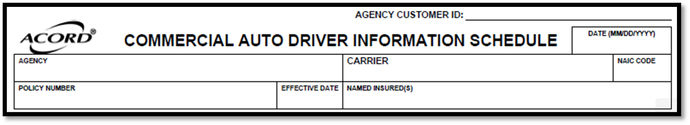 Acord 163 Agency and Insured Information
