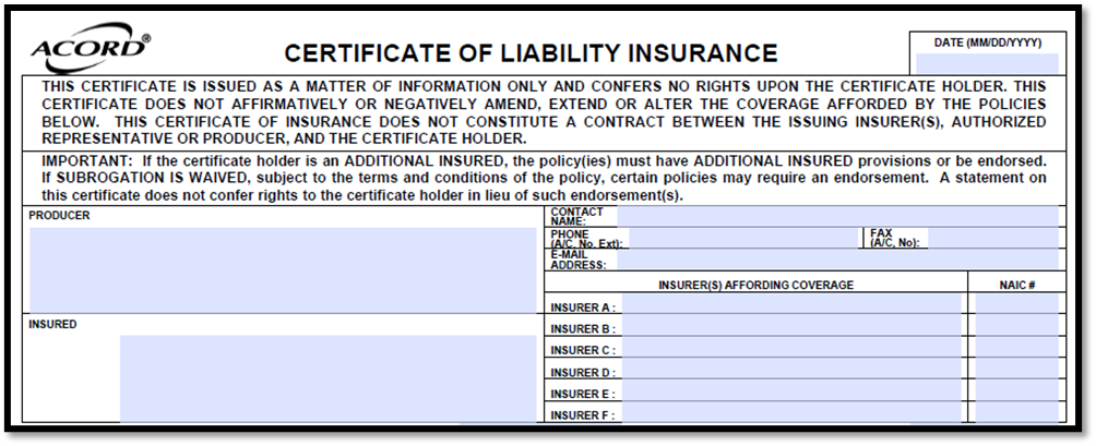Acord 25 Agency and Insured Information
