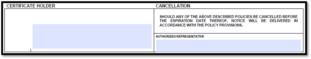 Acord 25 Certificate Holder and Cancellation